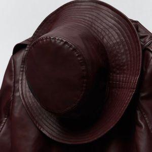 ZARA Faux Leather Bucket Hat 👒
